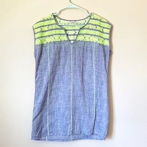 J. Crew Embroidered Dolman Tunic/ Lime green
